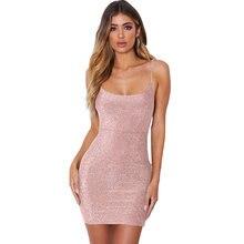 Элегантный Для женщин сверкающих блесток Бандажное платье Летнее