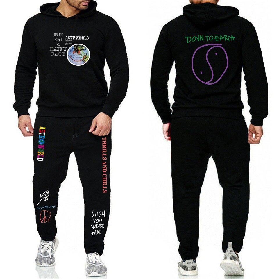 TRAVIS SCOTT ASTROWORLD Hoodies Sets Streetwear Fleece Hoodie Sweatpants Men Women Sweatshirt Hoodie And Pants S-3XL
