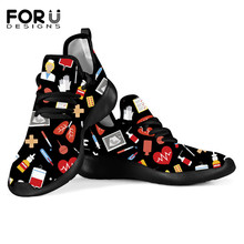 FORUDESIGNS Nurse Women Shoes Flat Medical Equip Print Spring Light Knit Ladies Comfortable Sneakers Sketch Shoes Loafers Mujer
