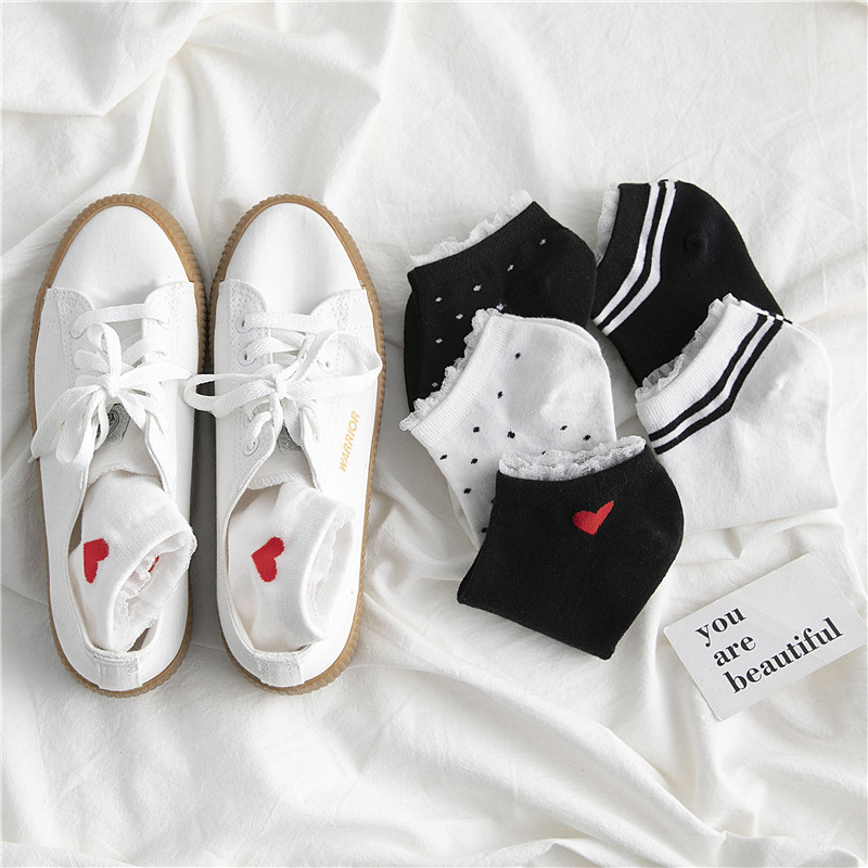 SP&CITY Japanese Style Dot Love Patterned Lace Women Socks Original Casual Ankle Socks For Female Breathable Comfortable Sox