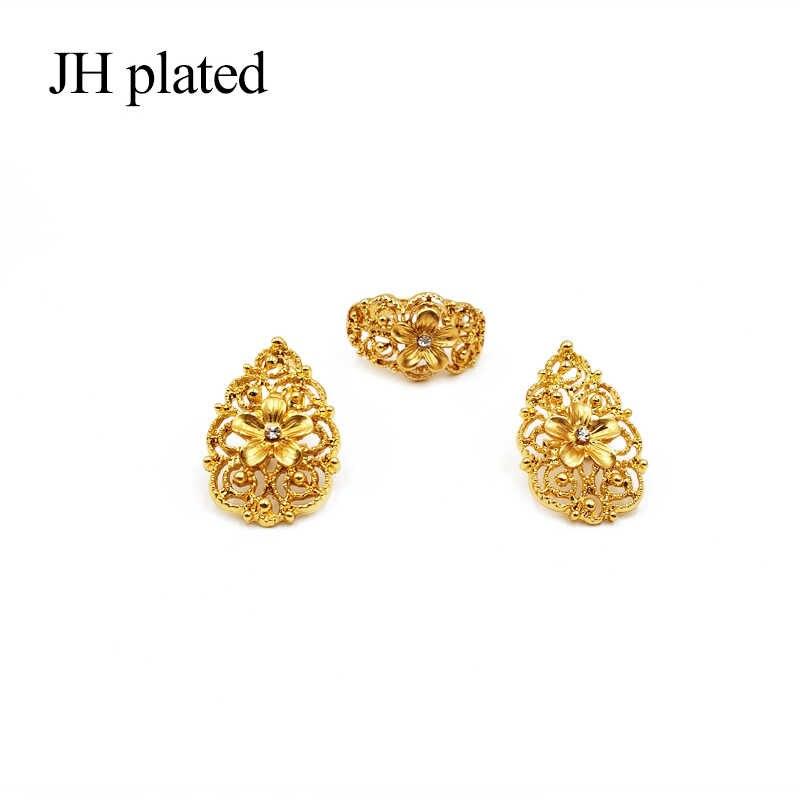 דובאי זהב אפריקאים סטי תכשיטי כלה חתונה מתנות לנשים ערב הערבית שרשרת צמיד עגילי טבעת סט collares תכשיטים