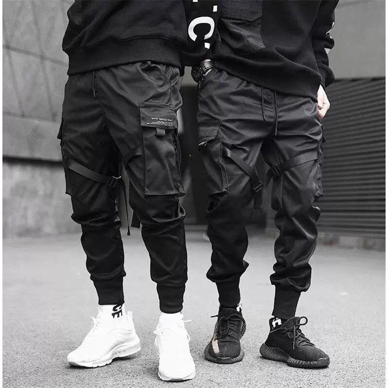 Zogaa New Men Ribbons Color Block Black Pocket Cargo Pants 2019 Harem Joggers Harajuku Sweatpant Fashion Hip Hop Trousers