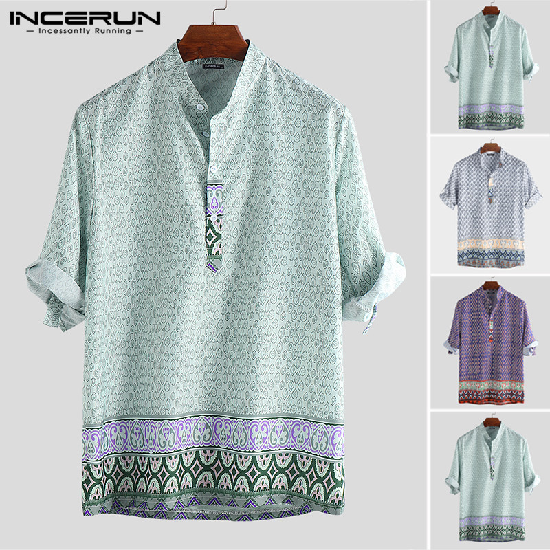 INCERUN Vintage Men Shirt Ethnic Printed 3/4 Sleeve Stand Collar Streetwear Vacation Hawaiian Blouse Beach Casual Shirts Bohemia