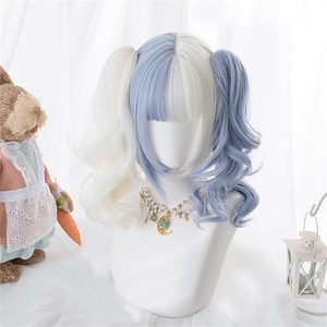 CosplayMix Lolita Ponytails Blue White Ombre Long Straight Bangs Cute Bob Synthetic Hair Cosplay Wig(China)