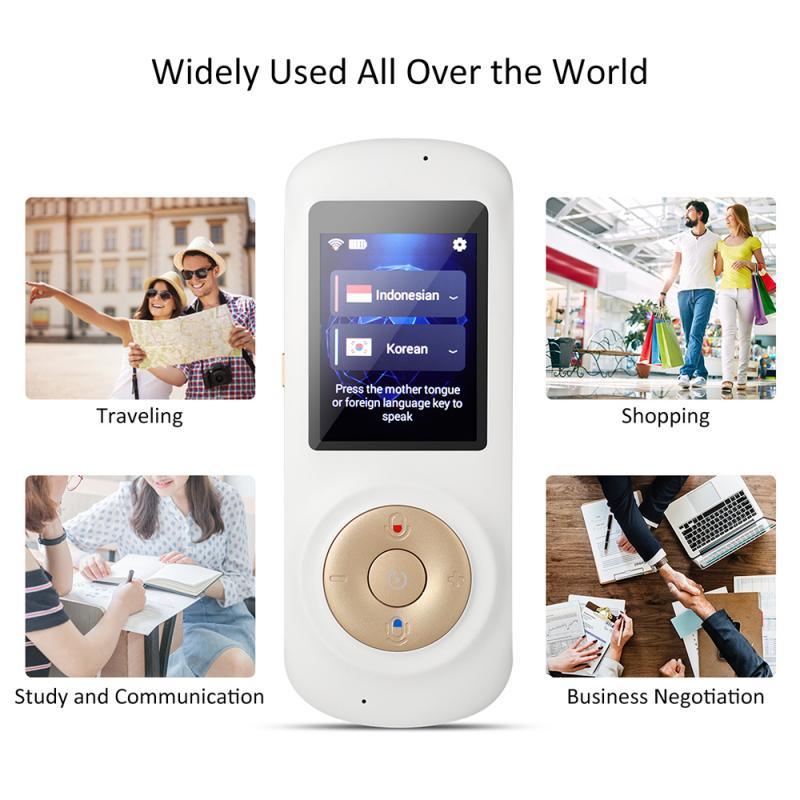 70 Languages Intelligent Translator Dual Mic Noise Reduction 0.3 Seconds Fast Response 1250 Mah Intelligent Voice Translator