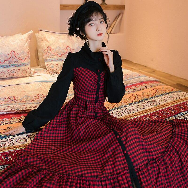 YOSIMI 2020 printemps Vintage rouge Plaid longue femmes robe faux ensemble Vestidos manches longues soirée robes élégantes cheville longueur - 3