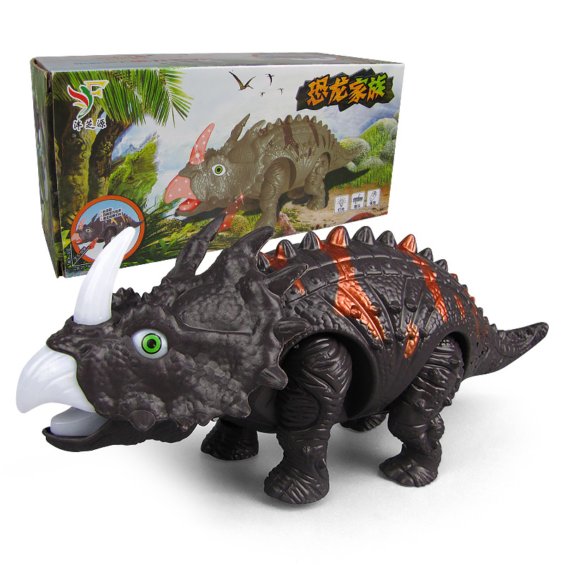 New Style Children Electric Dinosaur Toy Soft Light Automatic Walking Sound Triceratops Night Market Stall Hot Selling