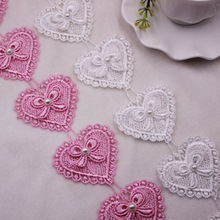 1Yards/Lot Heart-shaped Pearl Beaded Lace Fringe Embroidered Ribbon Trim Fabric Handmade Costume Sewing Applique