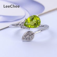 100% Natural peridot ring green crystal color gemstone 6*6mm 1ct resizable birthday gift Real 925 Solid Sterling Silver jewelry(China)