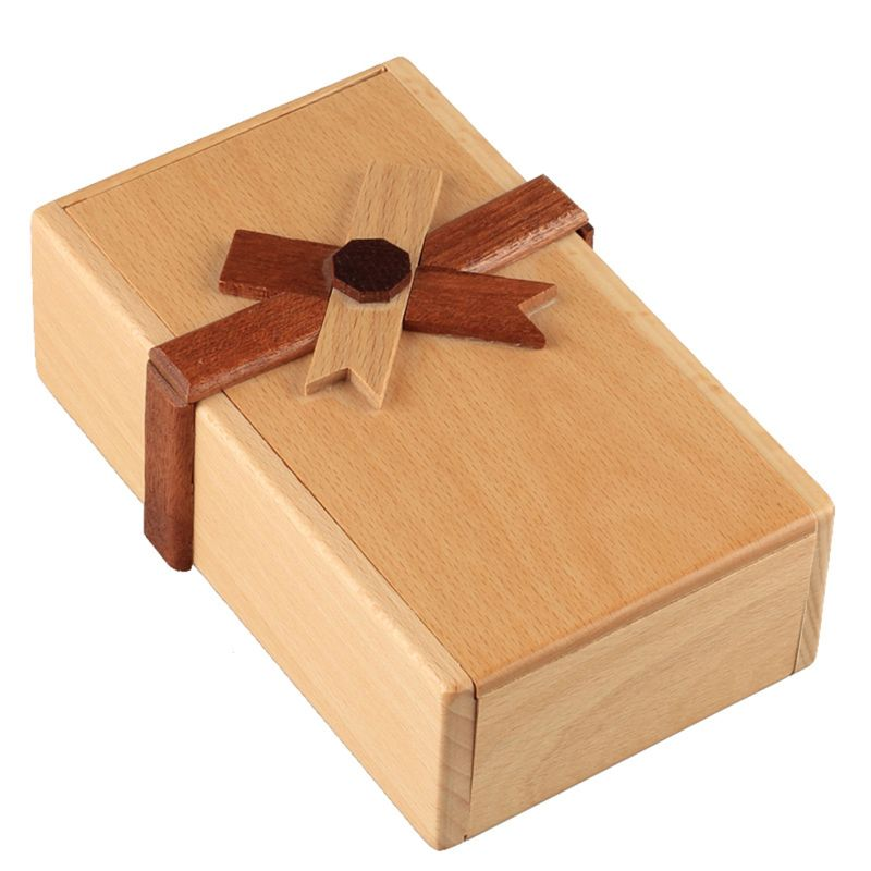 Puzzle Gift Case Box With Secret Compartments Wooden Money Box To Challenge R7RB