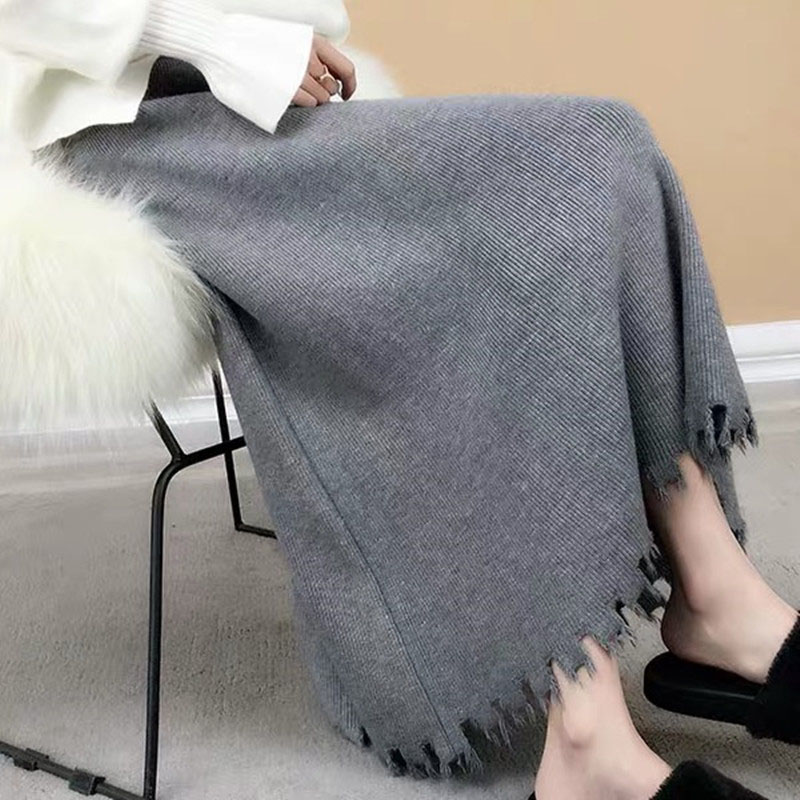 Women's Large Size Knit Skirt Female Autumn Winter Loose Plus Size A-line Skirt Pleated Skirt Long Solid Knit Skirt New ML266