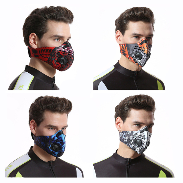 Bicycle half Face Mask Sport Training Mask PM2.5 Anti-pollution Running Mask Activated Carbon Filter Washable Cycling Bike Mask