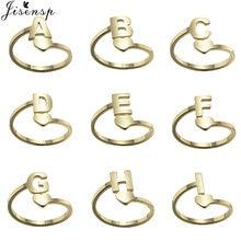 Bague personnalisée en acier inoxydable pour femme, avec initiales, Alphabet, ajustable