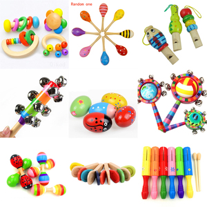About 5*7cm Montessori Educational Wooden toy Rattles Musical Instrument Wooden Sensory Mathematics Jigsaw Toy Development Toys