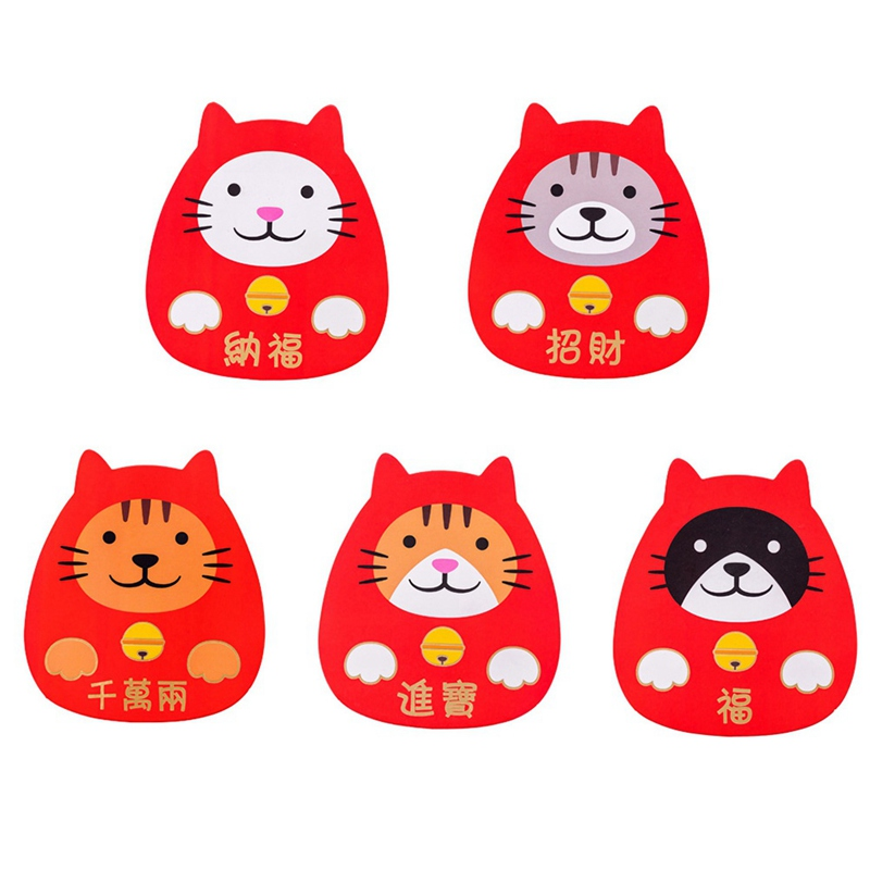 5 Pcs 2020 Chinese Red Bag New Year Red Envelope Stationery Red Packet Kawaii Japan Lucky Cat Design Red Packet
