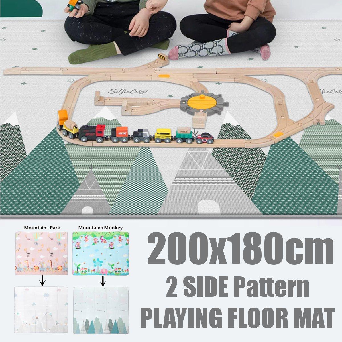 Pliable LDPE bande dessinée bébé tapis de jeu 200*180cm enfants Puzzle tapis bébé ramper tapis de jeu enfants tapis bébé jeux tapis