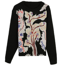 Shuchan 2019 Women Designer  Sweaters Embroidery Tree O-Neck Office Lady and Pullovers winter 11087