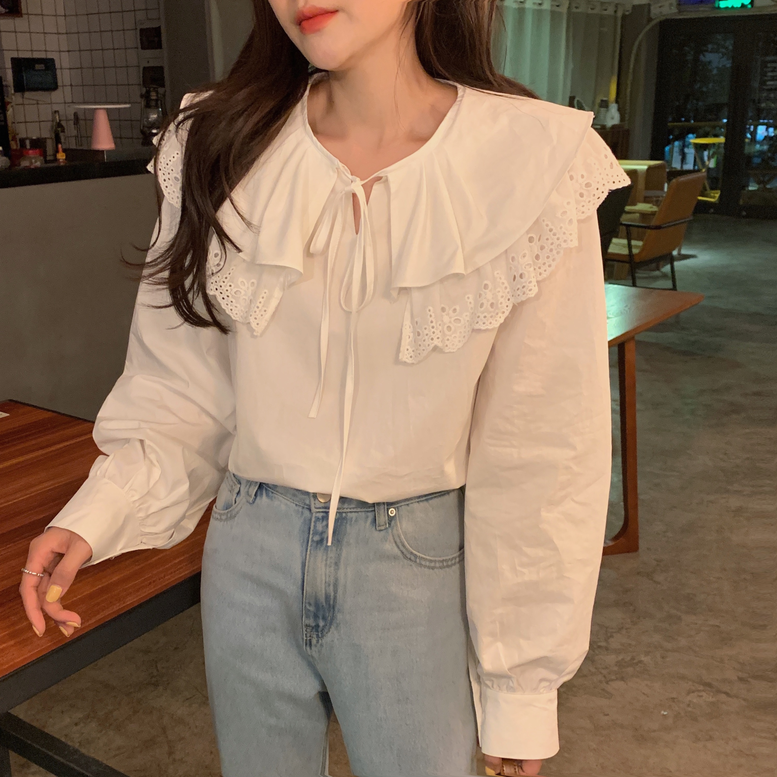 Hde1970420ca447f8acce2e897f987f14z - Spring / Autumn Korean Lace-Up Hollow Out Collar Long Sleeves Loose Solid Blouse