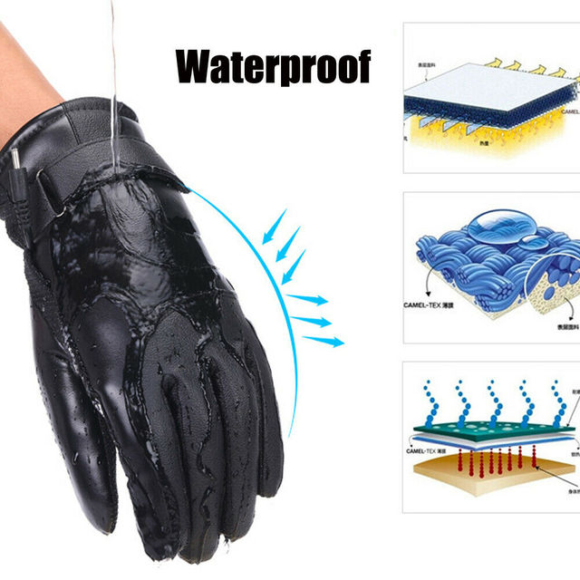 Winter Electric Heated Gloves Windproof Cycling Warm Heating Touch Screen Skiing Gloves USB Powered Heated Gloves For Men Women 3