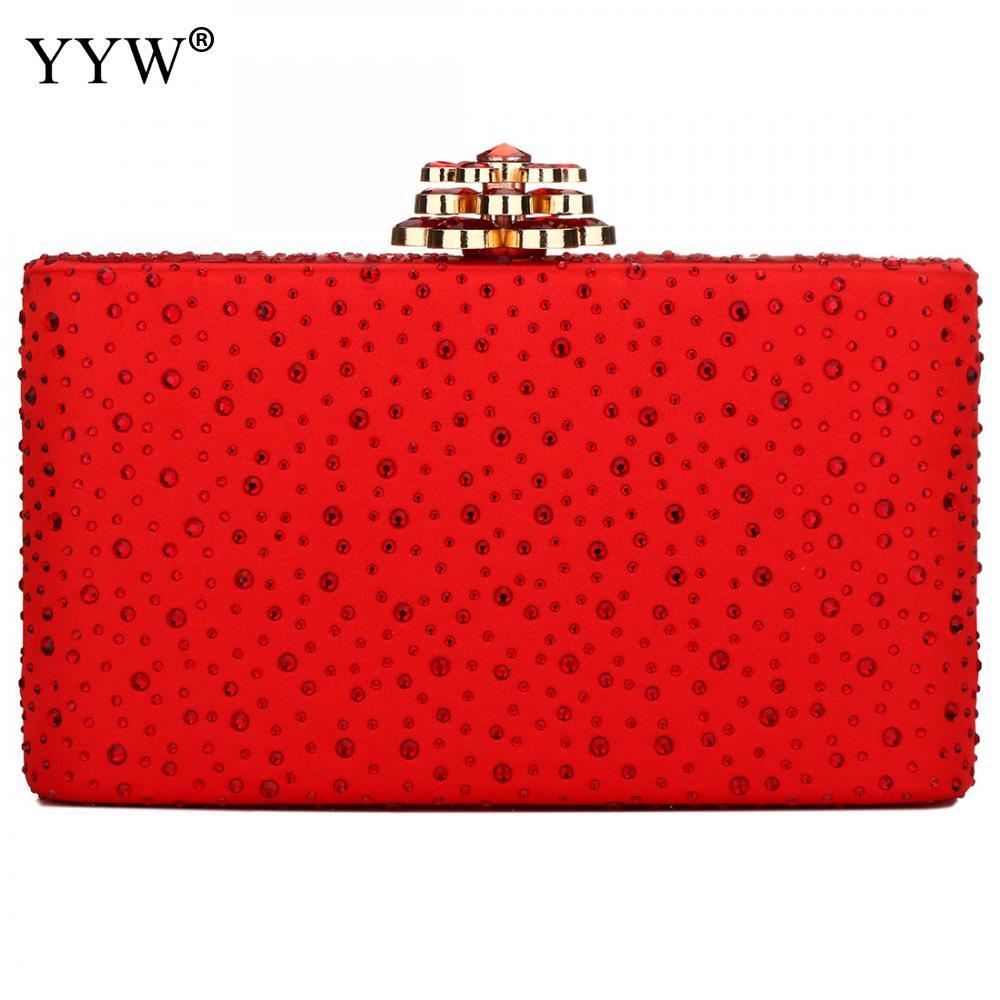 YYW Red Clutch Bag 2019 New Rhinestone Party Clutch Purse Fashion Girl Mini Phone Purse 2019 Elegant Evening Clutches Girls Bag
