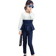 Abbigliamento per bambini di Autunno della Molla Della Rappezzatura Del Vestito + Vestito Vestiti Per Ragazze Set A Righe Teenager Vestiti Per Le Ragazze 8 10 12 14 anni