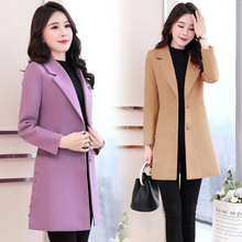 autumn long woolen coat women plus size new Korean wool coat long sleeve winter jacket coat women long coat Wool amp Blends women cheap LOW LUV Polyester Slim Casual Button Pockets Wool Blends Solid Single Breasted REGULAR Turn-down Collar 88556 Full