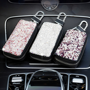 Image 2 - 1 Pcs Men & Women Car Key Bag Wallet Crystal Key Case Fashion Housekeeper Holders Luxury for BMW LADA Accessories