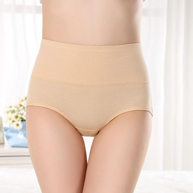 Women's Cotton Panties High Waist Tummy Control Solid Color Cotton Briefs Panties For Women