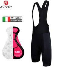 X-tiger – short de cyclisme classique pour femmes, noir, rembourré en 3D, 100% Lycra, antichoc, vtt, vélo de route, Ciclismo