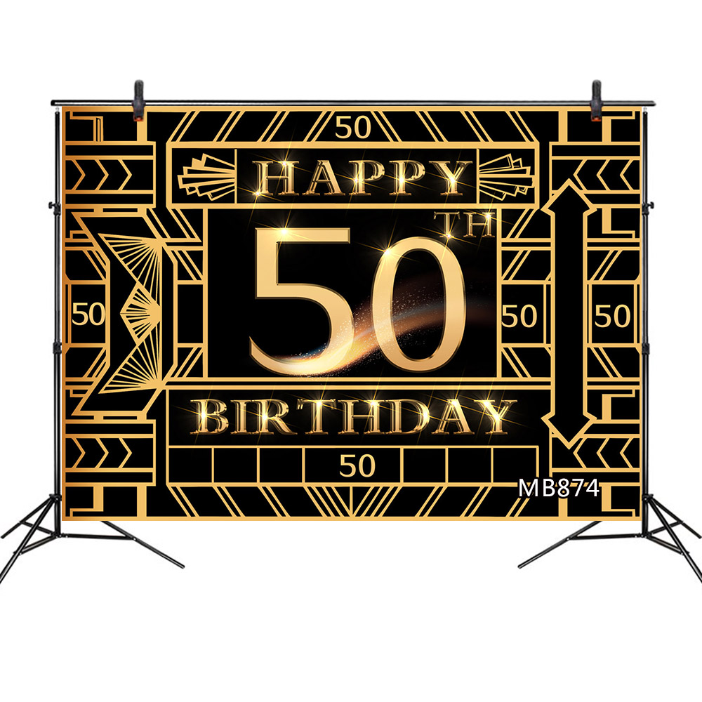 50 <font><b>60th</b></font> <font><b>Birthday</b></font> Photography <font><b>Backdrop</b></font> Party Decor Golden Geometric Pattern Photographic <font><b>Backdrop</b></font> For Photo Studio Customizable image