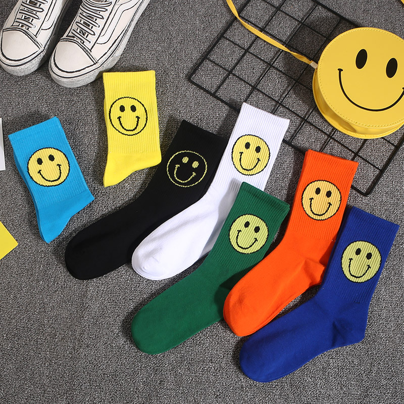 Tide brand Korean fashion street wild socks female personality cute cartoon smile face college cotton