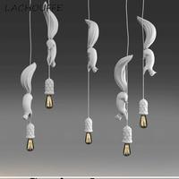 Modern Creative Resin Squirrel Pendant Lamp Nordic Industrial Led Hanging Lights for Bedroom Bar Hotel Loft Decor Luminaire