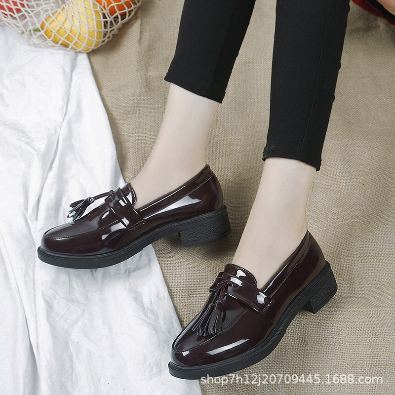 New Style Fashion Korean-style Chunky-Heel Loafers Tassels Princess Casual Comfortable Harajuku-Style Students Trend WOMEN'S Sho