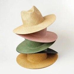 Женская пляжная шляпа на липучке, новая модная пляжная шапка с драгоценной травой, летняя Панама, возможно изменение размера, оптовая прода...