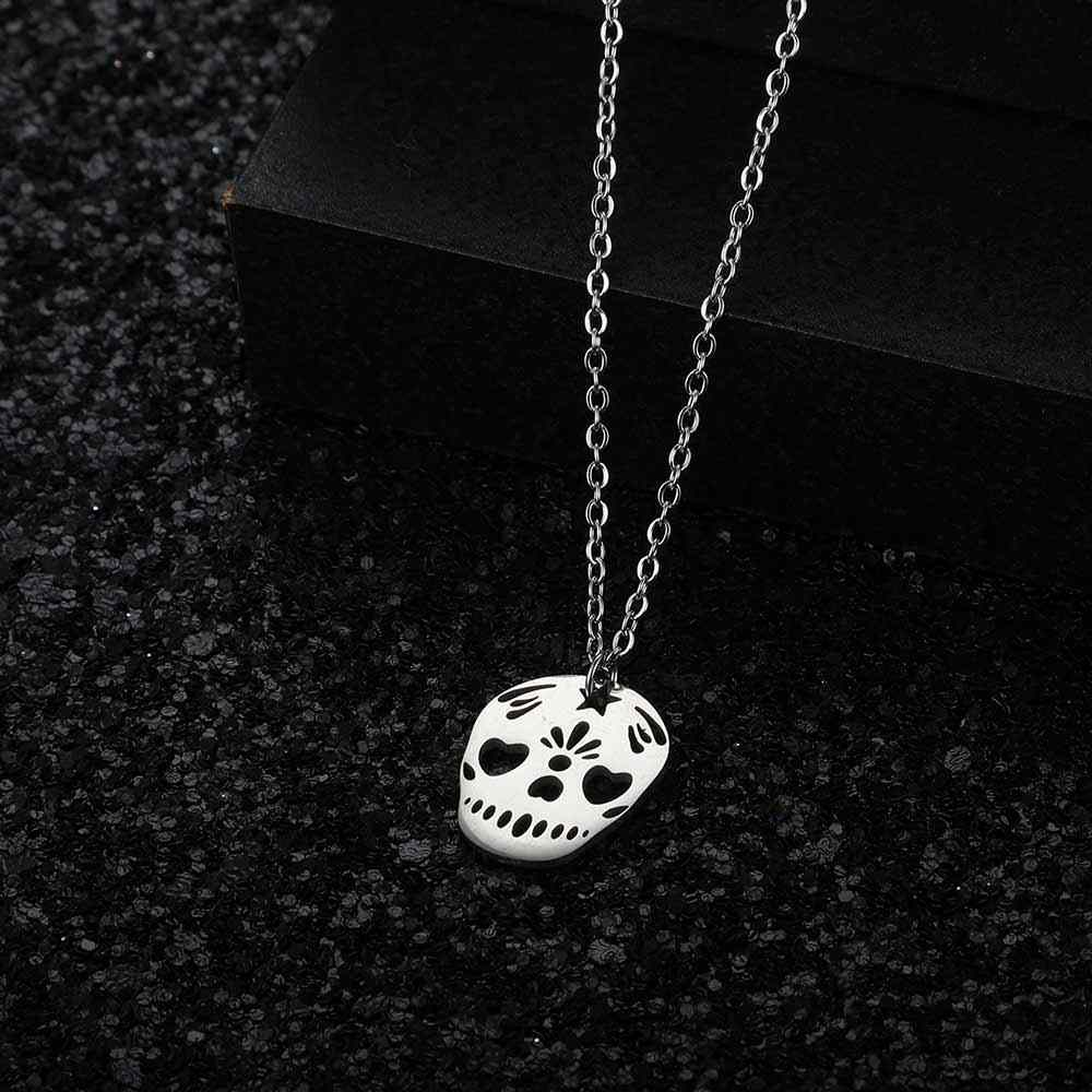 AAAAA качество 100% из нержавеющей стали Череп Шарм ожерелье для женщин полированный оптовая продажа никогда не ювелирные изделия tarnish ожерелье