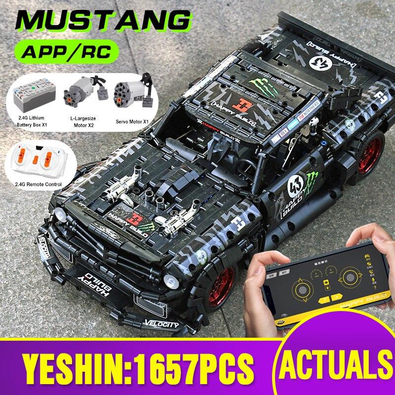 MOC-22970 Led Кирпичи Модель Совместимость Technic RC Ford Mustang Hoonicorn РТР V2 городской автомобиль строительные блоки игрушка