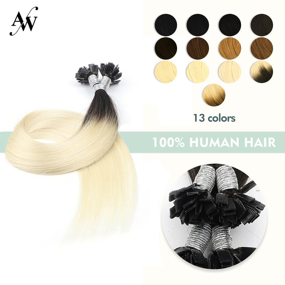 Capsules Hair-Extensions Human-Hair Machine-Made Keratin Flat-Tip Straight Pre-Bonded