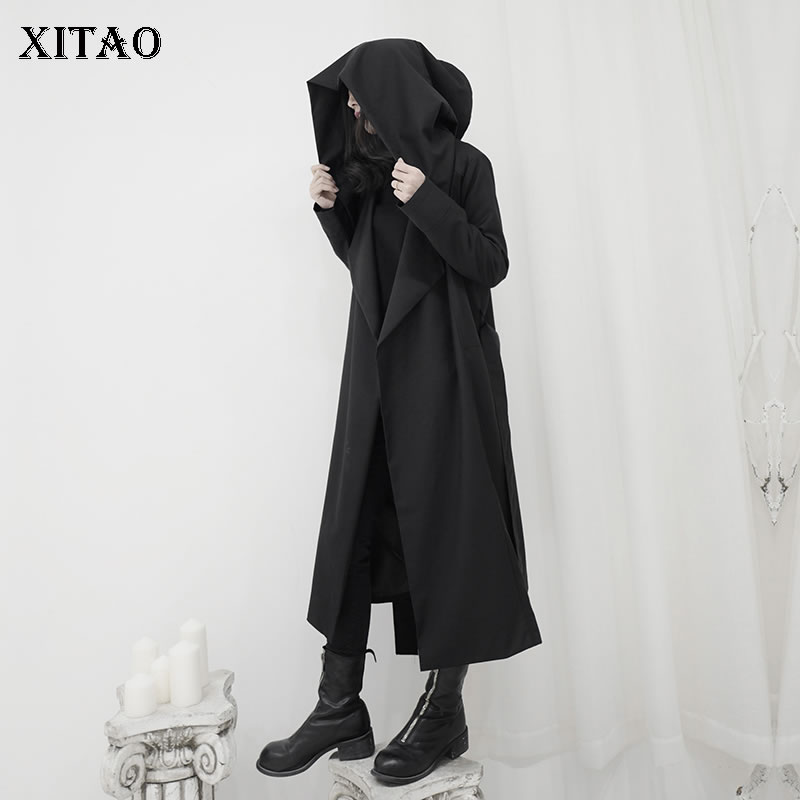 XITAO Plus Size Women Trench Black Full Sleeve Pleated Wide Waist Hooded Collar Minority Casual Loose Casual Coat DMY2562