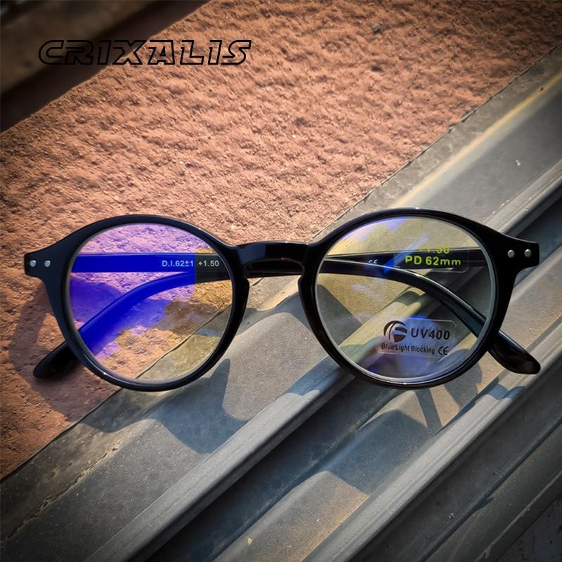 CRIXALIS-gafas de lectura con luz azul para hombre y mujer, anteojos para leer con marco Flexible, bisagra de resorte, para ordenador, presbicia, UV400
