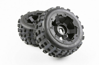 Rear Knobby Tire Assembly Set with Wheel Hub for 1/5 Hpi rovan km Baja 5B SS