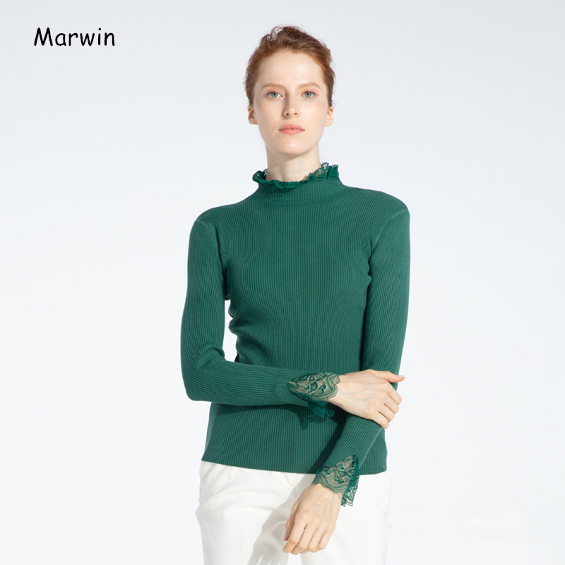 Marwin 2019 Winter Solid Ruffled Collar Ruched Lace High Street Style Women Sweaters Soft Warm Female Knitted Pullovers