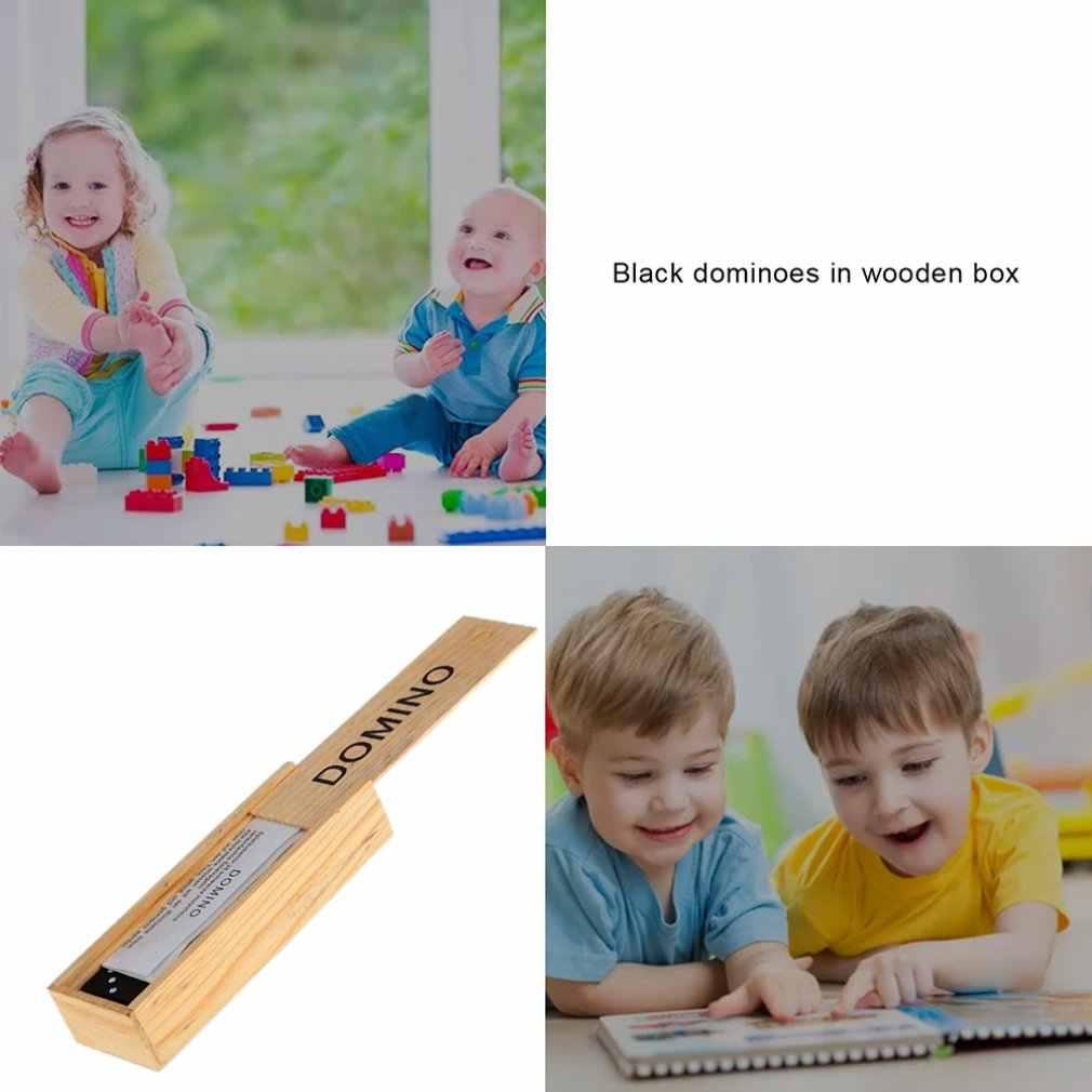 子供木製ボックスドミノセットのおもちゃ伝統古典子供 28 タイルドミノ旅行ゲーム家族ゲームのおもちゃ知育玩具