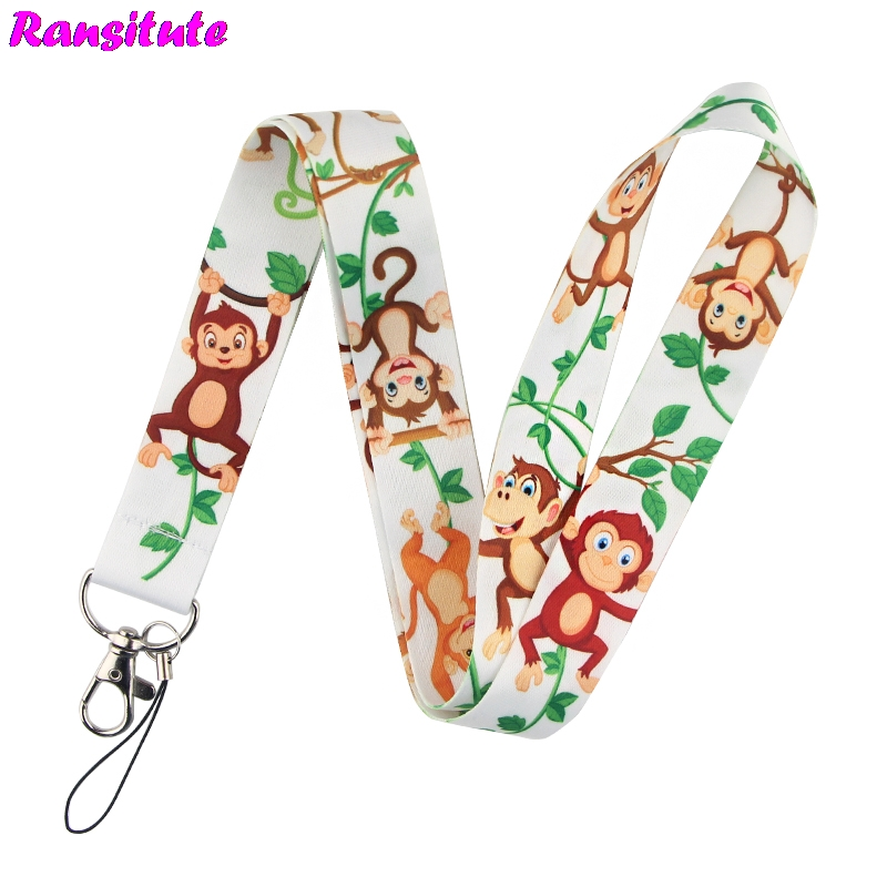 Ransitute Monkey Lanyard Key ID Card Gym Phone Strap USB Badge Holder DIY Multifunctional