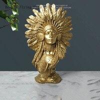 Modern Resin Pure Gold Indian Figurine Crafts Model Room Sand Stone Plaster Sculpture Portrait Character Decoration Decoration