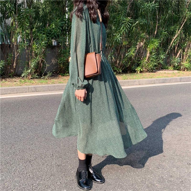 Mozuleva VINTAGE Lace Up Polka Dot ผู้หญิงชุดสีเขียวฤดูใบไม้ผลิ Elastic เอวชุดยาวหญิง 2020 ฤดูร้อน A-Line Vestidos Femme