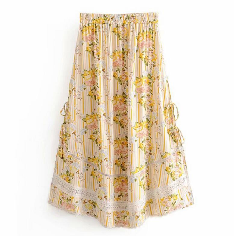 Image 3 - Bohemian Lace Spliced Striped Floral Shirt Yellow Sexy Women Elastic Waist Long Skirt Long Sleeve Blouse Holiday 2 Pieces SetWomens Sets   -