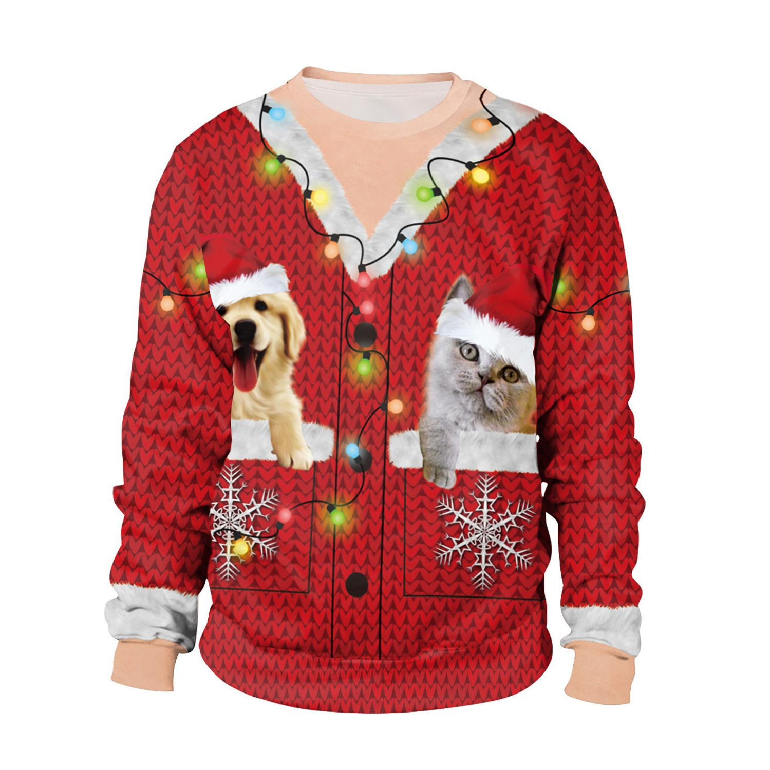 2019 Winter Christmas Sweater For Women Warm Funny Thick Pullover 3D Print Casual Deer Snow New Year Female Male Sweater