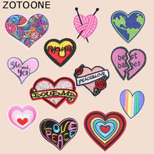 ZOTOONE Colorful Flower Heart Patch Stickers Iron on Patches for Clothing T-shirt Heat Transfer Diy Accessory Appliques G