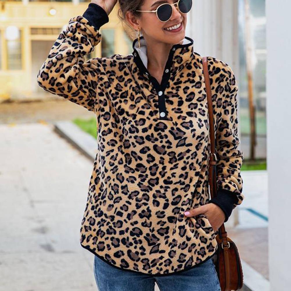 Sexy Pink Leopard Button Pocket Long Sleeve Women's Sweater Polyester Women's Sweatshirt Pocket Long-Sleeved Blouse Sweatershirt