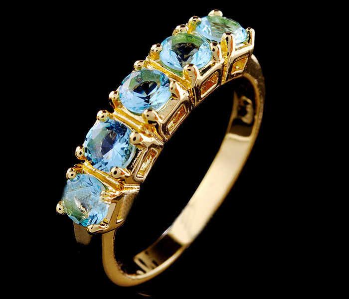Luxury ขนาดเล็ก Blue Zircon แหวนหมั้นแหวนแฟชั่นหญิงสี Yellow Gold Finger แหวน Vintage สำหรับแหวนผู้หญิง